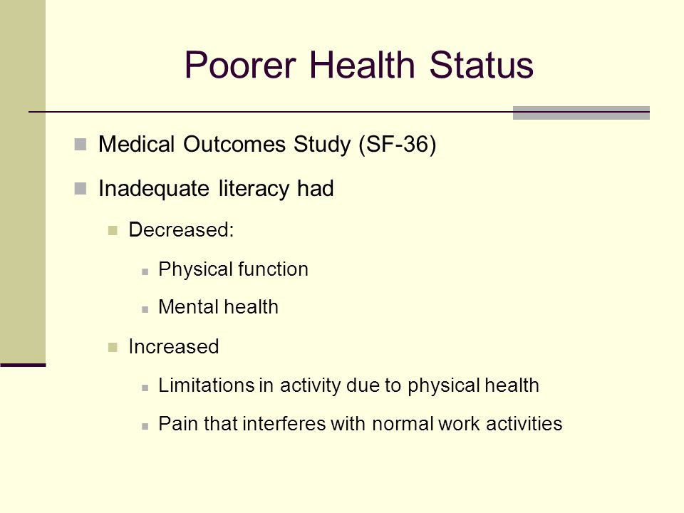 Poorer Health Status Medical Outcomes Study (SF-36) Inadequate literacy had Decreased: Physical function Mental health Increased Limitations in activity due to physical health Pain that interferes with normal work activities