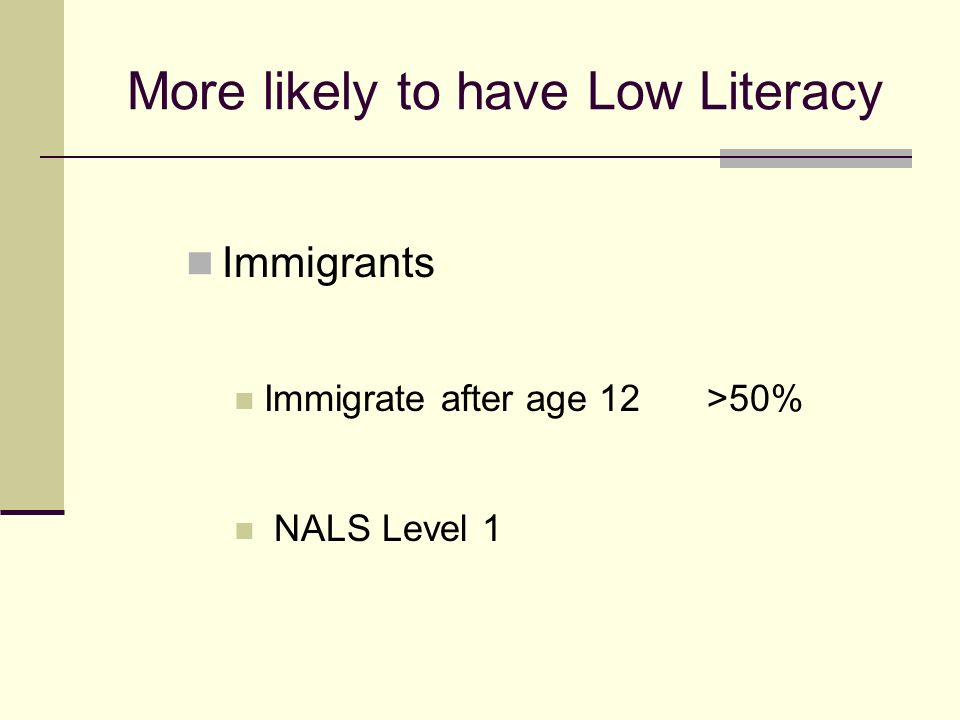 More likely to have Low Literacy Immigrants Immigrate after age 12 >50% NALS Level 1
