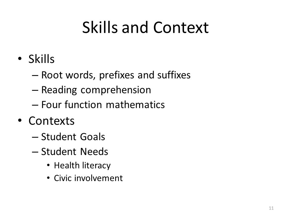 Skills and Context Skills – Root words, prefixes and suffixes – Reading comprehension – Four function mathematics Contexts – Student Goals – Student Needs Health literacy Civic involvement 11