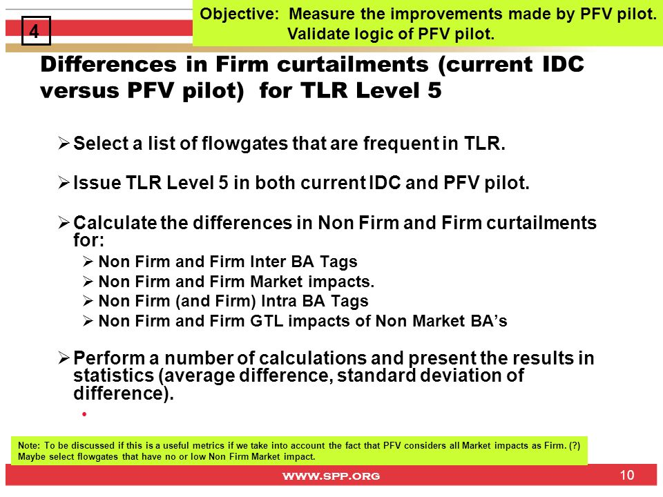 www.spp.org 10 Differences in Firm curtailments (current IDC versus PFV pilot) for TLR Level 5 Select a list of flowgates that are frequent in TLR.