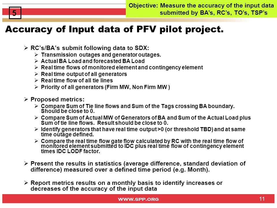 www.spp.org 11 Accuracy of Input data of PFV pilot project. RCs/BAs submit following data to SDX: Transmission outages and generator outages. Actual B