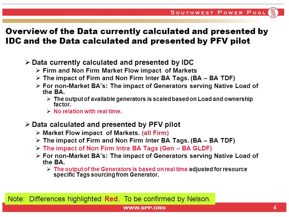 www.spp.org 4 Overview of the Data currently calculated and presented by IDC and the Data calculated and presented by PFV pilot Data currently calcula