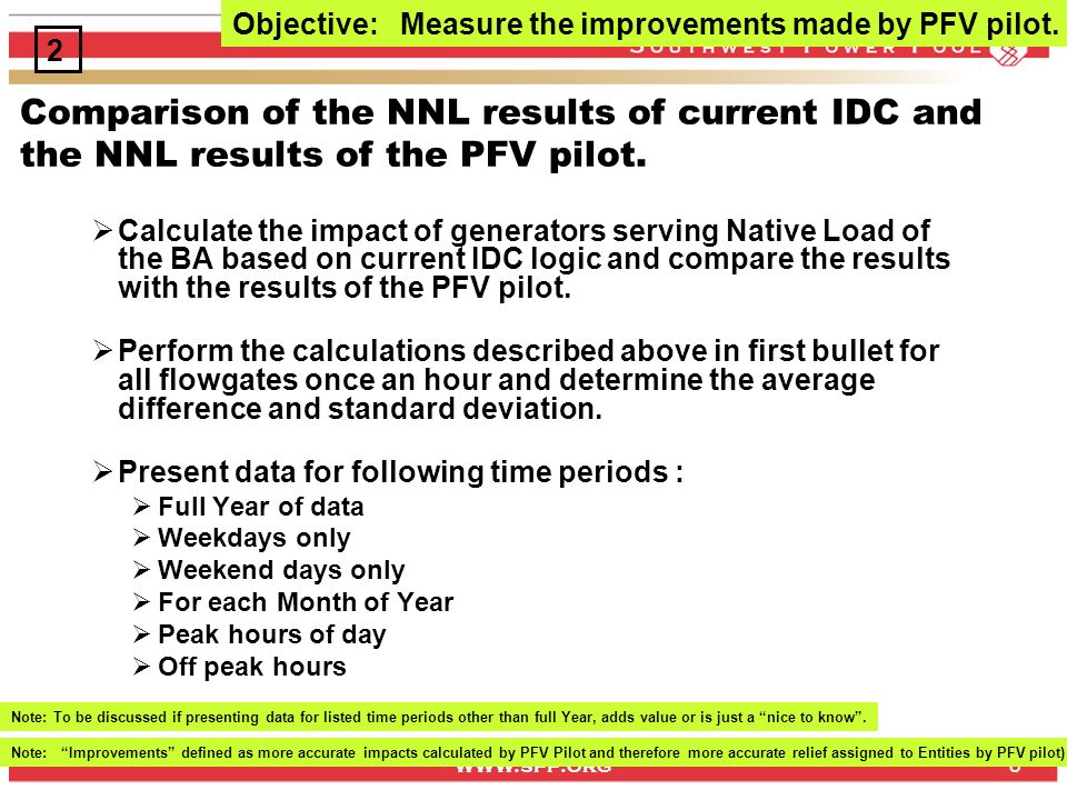 www.spp.org 8 Comparison of the NNL results of current IDC and the NNL results of the PFV pilot.