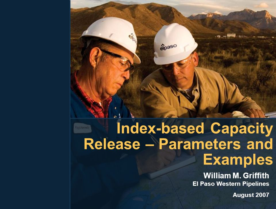 Index-based Capacity Release – Parameters and Examples William M.