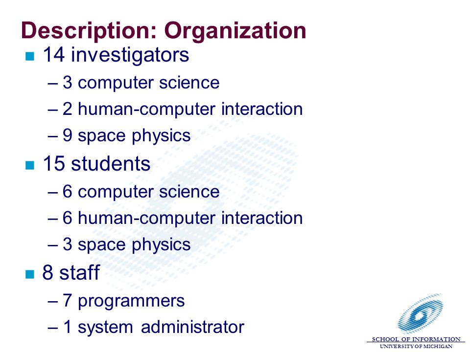 SCHOOL OF INFORMATION UNIVERSITY OF MICHIGAN Description: Organization n 14 investigators –3 computer science –2 human-computer interaction –9 space p