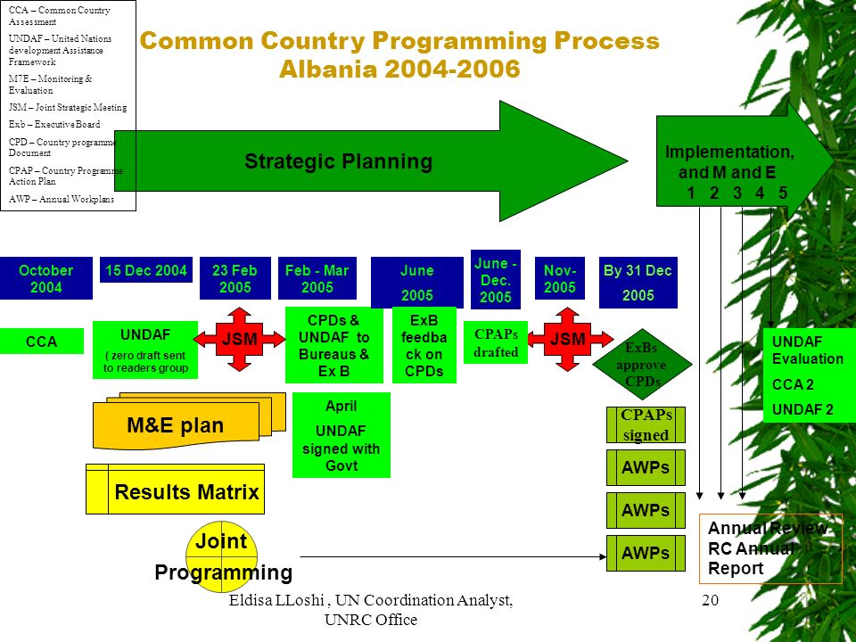 Eldisa LLoshi, UN Coordination Analyst, UNRC Office 20 Common Country Programming Process Albania 2004-2006 CCA UNDAF ( zero draft sent to readers gro