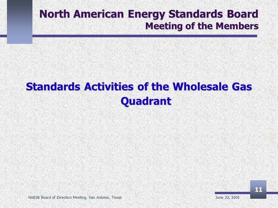 June 22, 2005 NAESB Board of Directors Meeting, San Antonio, Texas 11 North American Energy Standards Board Meeting of the Members Standards Activitie
