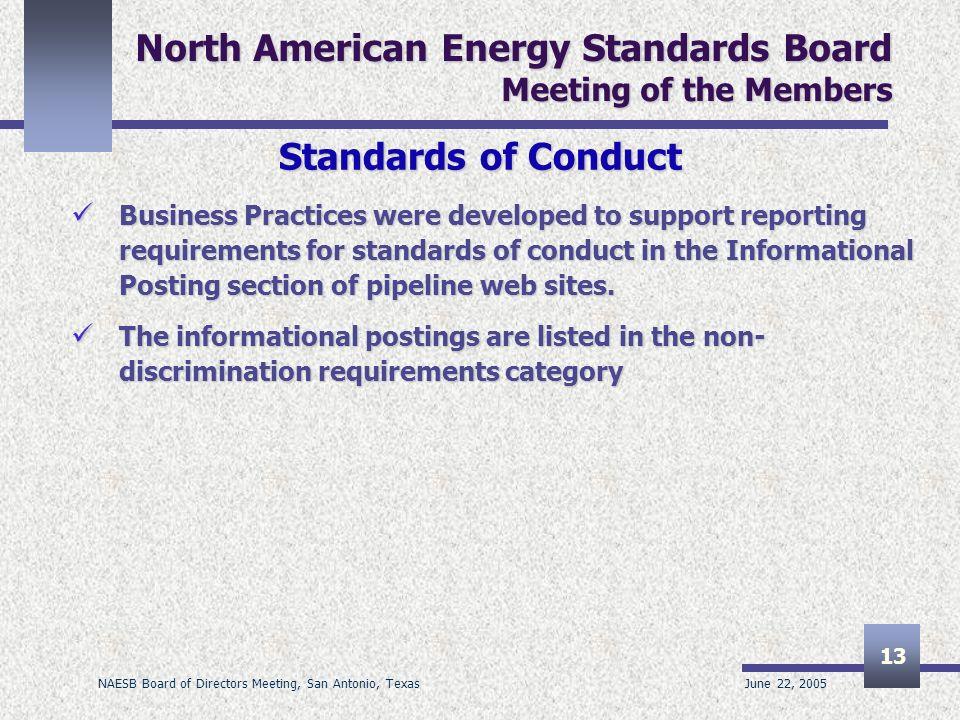 June 22, 2005 NAESB Board of Directors Meeting, San Antonio, Texas 13 North American Energy Standards Board Meeting of the Members Standards of Conduc