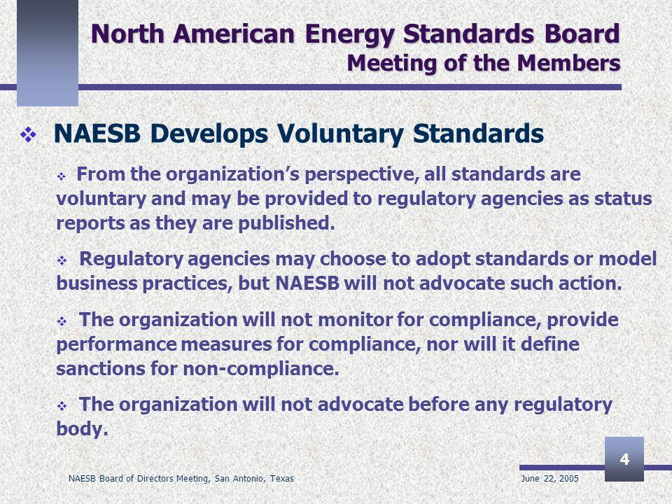 June 22, 2005 NAESB Board of Directors Meeting, San Antonio, Texas 4 North American Energy Standards Board Meeting of the Members NAESB Develops Volun