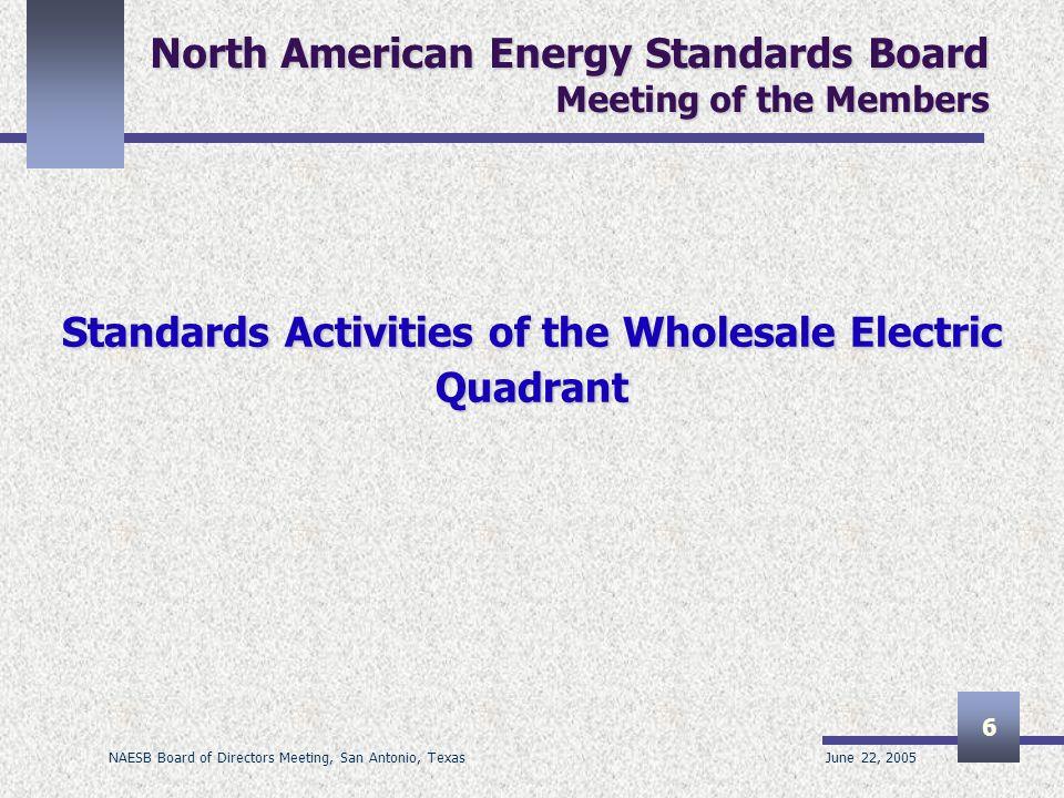 June 22, 2005 NAESB Board of Directors Meeting, San Antonio, Texas 6 North American Energy Standards Board Meeting of the Members Standards Activities