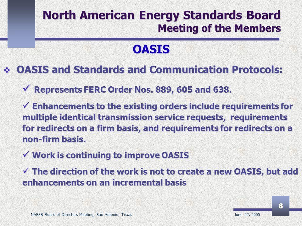 June 22, 2005 NAESB Board of Directors Meeting, San Antonio, Texas 8 North American Energy Standards Board Meeting of the Members OASIS OASIS and Stan