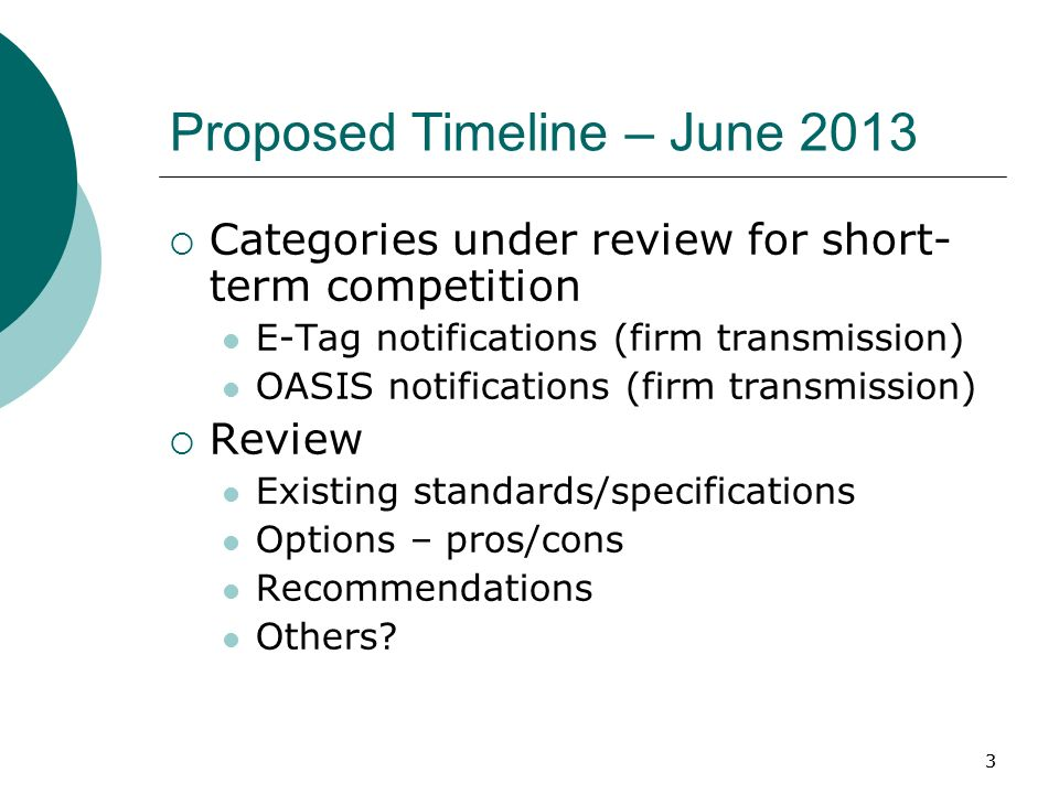 33 Proposed Timeline – June 2013 Categories under review for short- term competition E-Tag notifications (firm transmission) OASIS notifications (firm transmission) Review Existing standards/specifications Options – pros/cons Recommendations Others