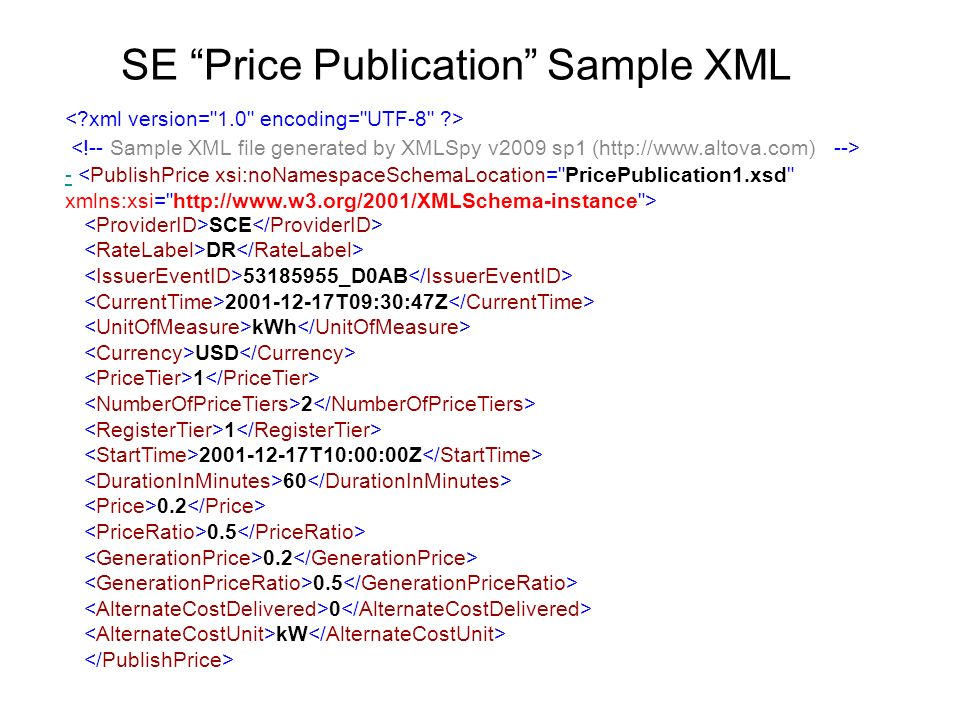 SE Price Publication Sample XML - SCE DR 53185955_D0AB 2001-12-17T09:30:47Z kWh USD 1 2 1 2001-12-17T10:00:00Z 60 0.2 0.5 0.2 0.5 0 kW