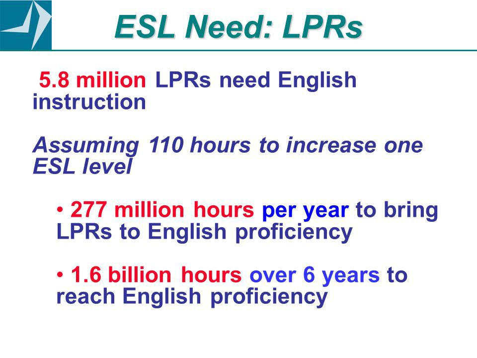 ESL Need: LPRs 5.8 million LPRs need English instruction Assuming 110 hours to increase one ESL level 277 million hours per year to bring LPRs to English proficiency 1.6 billion hours over 6 years to reach English proficiency