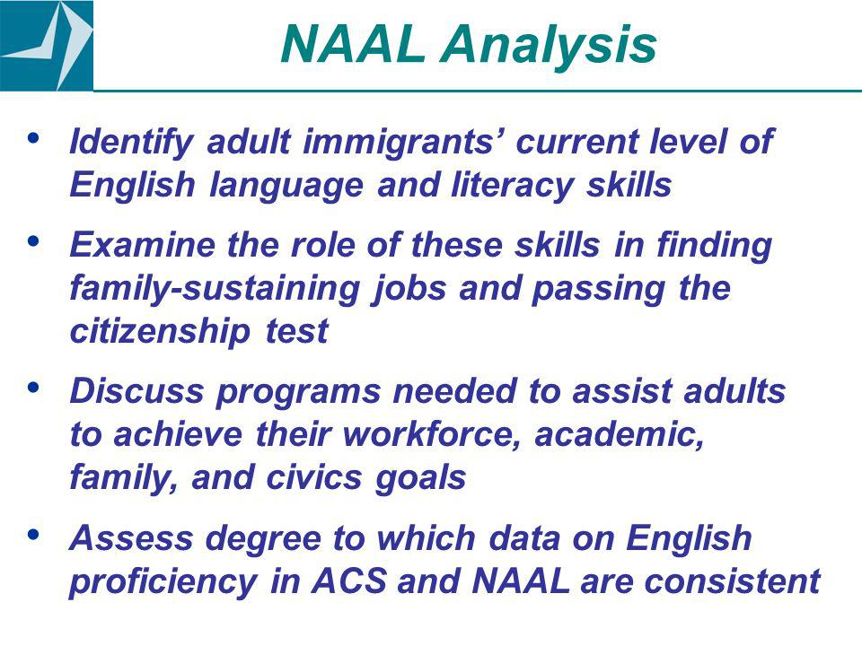 Identify adult immigrants current level of English language and literacy skills Examine the role of these skills in finding family-sustaining jobs and