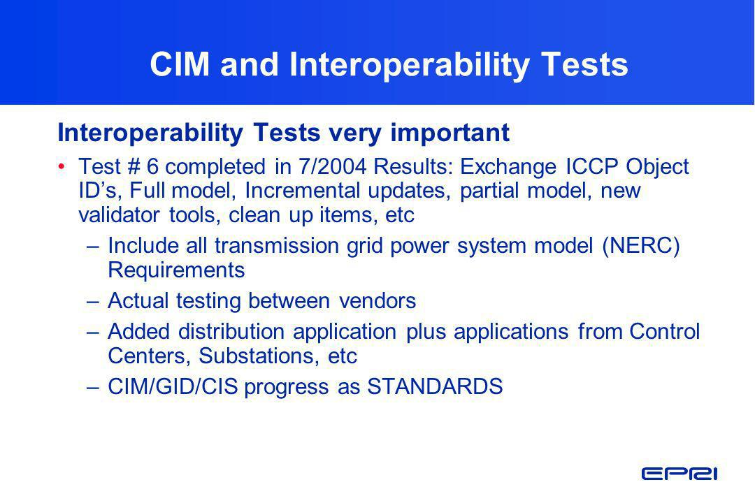 CIM and Interoperability Tests Interoperability Tests very important Test # 6 completed in 7/2004 Results: Exchange ICCP Object IDs, Full model, Incre