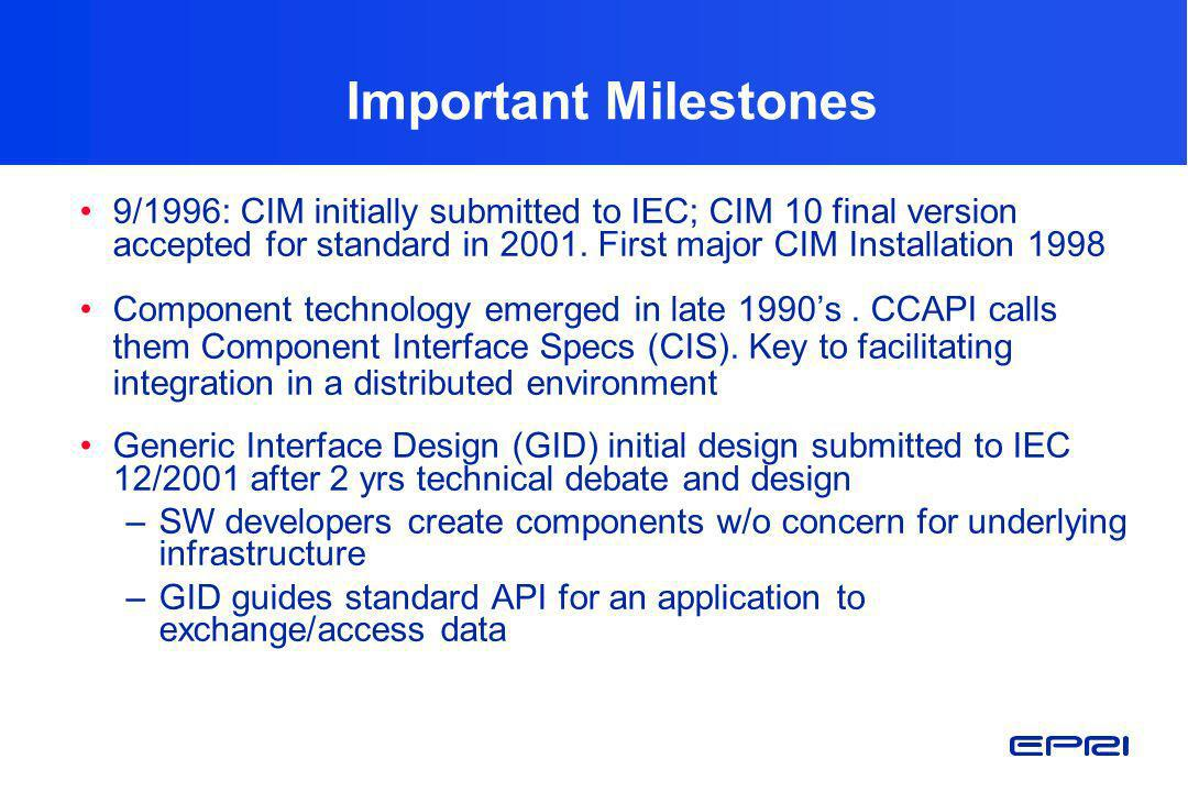 CIM Status and Access Information CIM exists as ROSE model and IEC standard (MS Word) Complete CIM (61968, 61970, and Market Operations packages in UML) available on IEC CIM User Web site (www.cimuser.com)www.cimuser.com Also available for download Current 61970 CIM model (cim10_030501.mdl) RDF Schema Version for CIM Version 10 XML Message Schemas for 61968 messages EPRI published reports on Control Center Application Program Interface (CCAPI)Control Center Application Program Interface (CCAPI) Site includes CIM 10,IOPs #1-6, CME reports downloadable