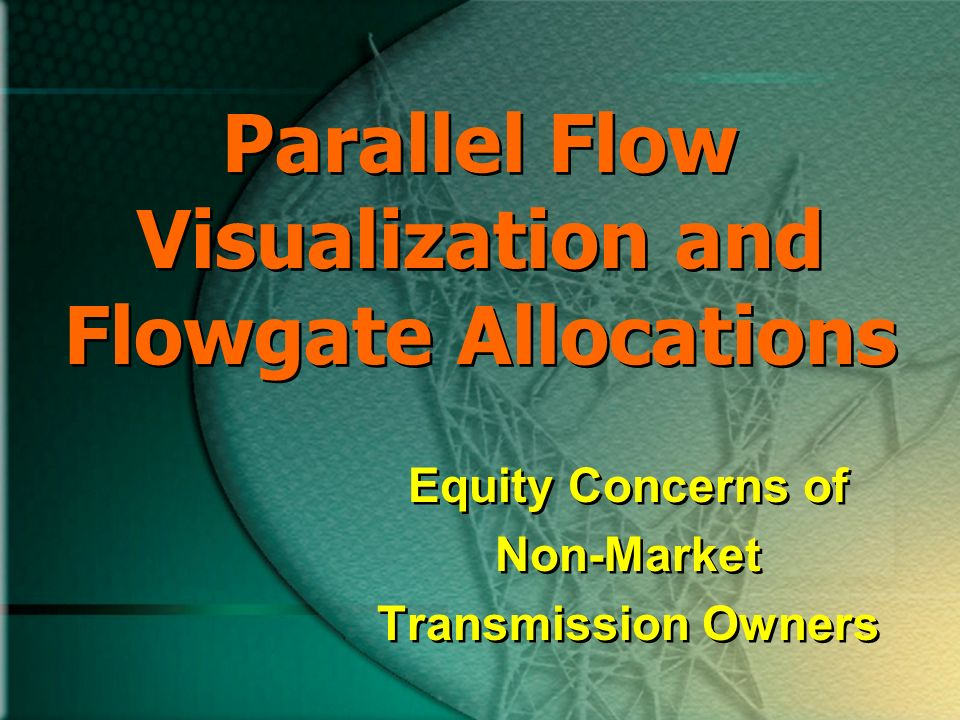 Parallel Flow Visualization and Flowgate Allocations Equity Concerns of Non-Market Transmission Owners Equity Concerns of Non-Market Transmission Owners