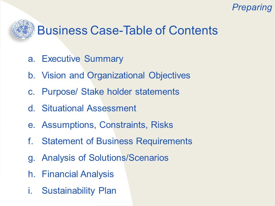 Business Case-Table of Contents a.Executive Summary b.Vision and Organizational Objectives c.Purpose/ Stake holder statements d.Situational Assessment