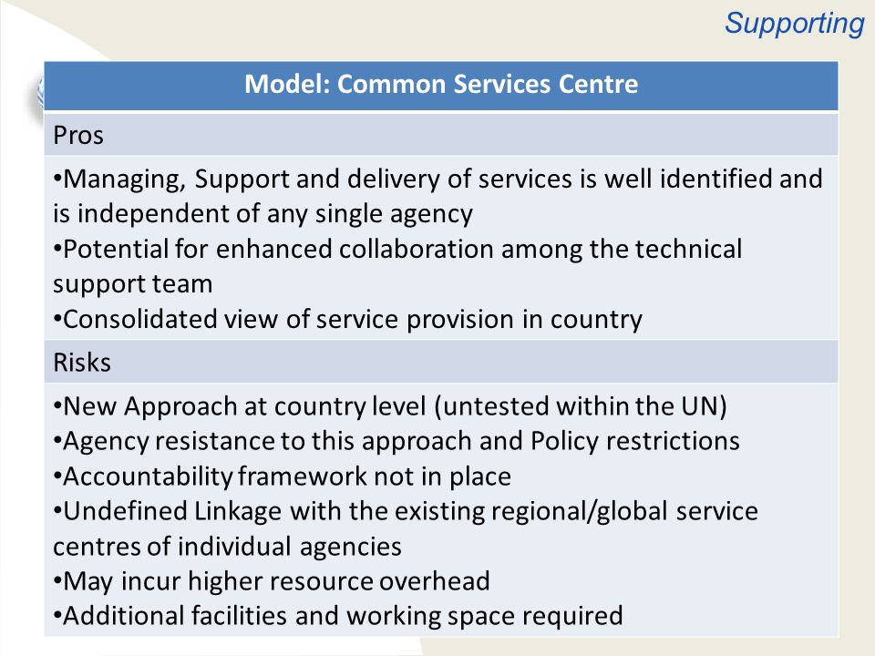 Service Management Models Model: Common Services Centre Pros Managing, Support and delivery of services is well identified and is independent of any s