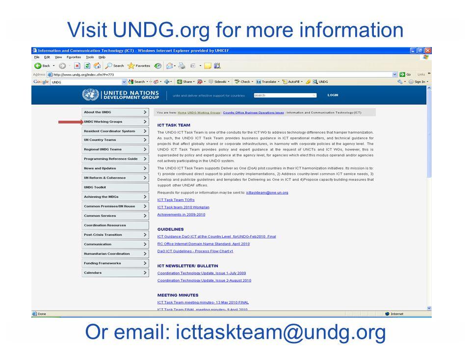 Visit UNDG.org for more information Or email: icttaskteam@undg.org