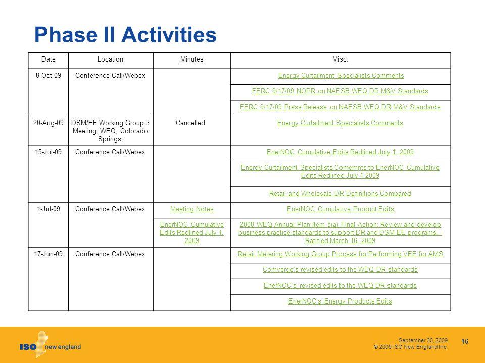 September 30, 2009 © 2009 ISO New England Inc. Phase II Activities 16 DateLocationMinutesMisc.