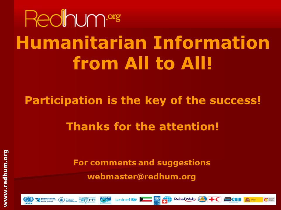 www.redhum.org Humanitarian Information from All to All.