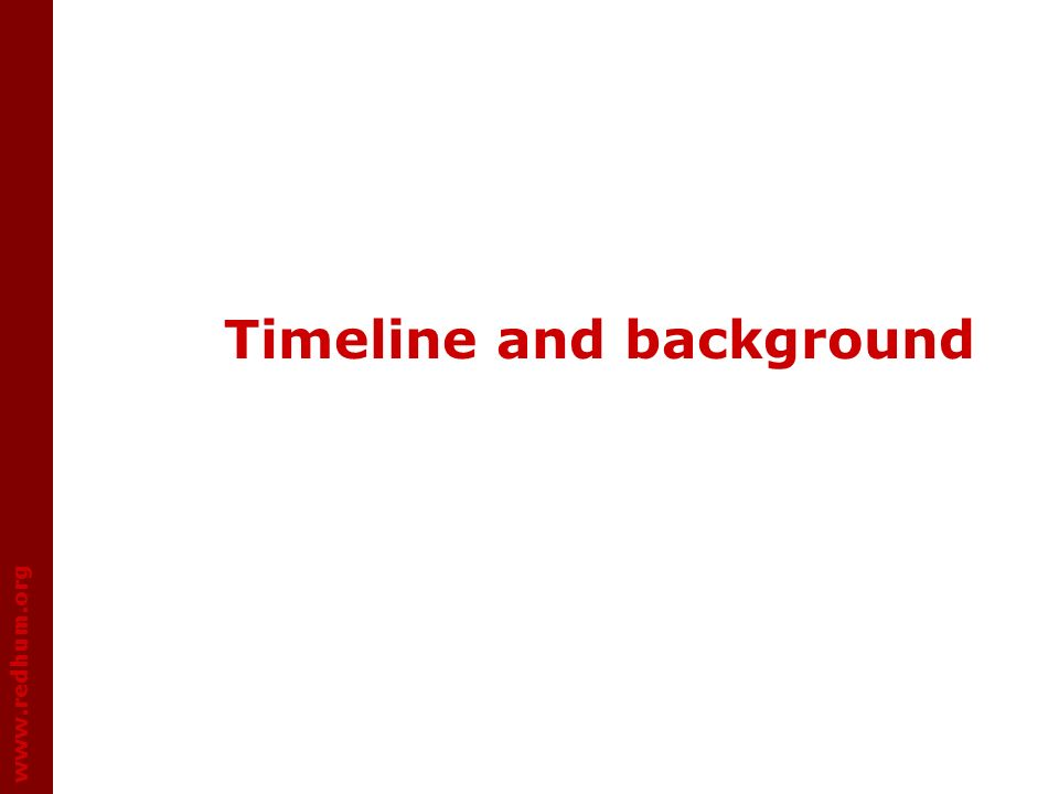 www.redhum.org Timeline and background