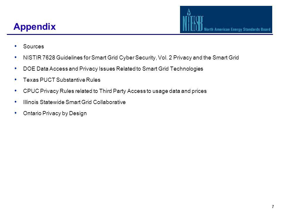 8 Sources NISTIR 7628 Guidelines for Smart Grid Cyber Security Vol.