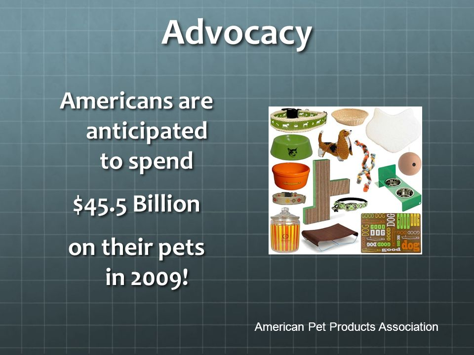Advocacy Americans are anticipated to spend $45.5 Billion on their pets in 2009.