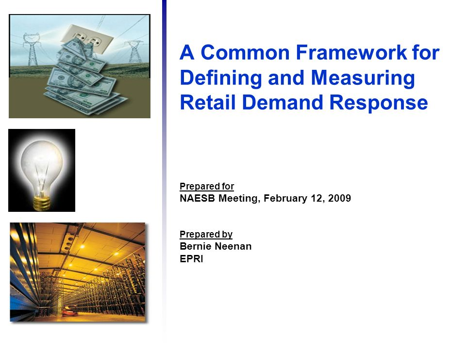 A Common Framework for Defining and Measuring Retail Demand Response Prepared for NAESB Meeting, February 12, 2009 Prepared by Bernie Neenan EPRI