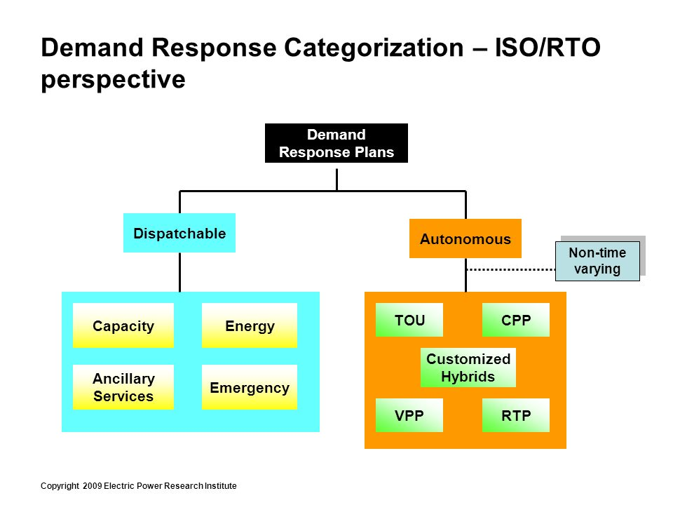 Copyright 2009 Electric Power Research Institute Demand Response Categorization – ISO/RTO perspective Demand Response Plans Dispatchable Capacity Emergency Energy Ancillary Services Autonomous TOU RTP CPP VPP Customized Hybrids Non-time varying