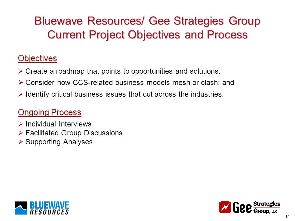 10 Bluewave Resources/ Gee Strategies Group Current Project Objectives and Process Objectives Create a roadmap that points to opportunities and solutions.