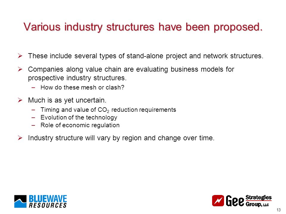13 Various industry structures have been proposed.