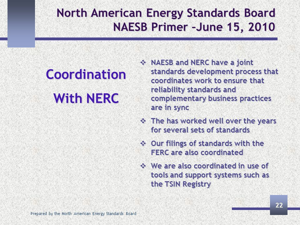Prepared by the North American Energy Standards Board 22 North American Energy Standards Board NAESB Primer –June 15, 2010 Coordination With NERC NAES