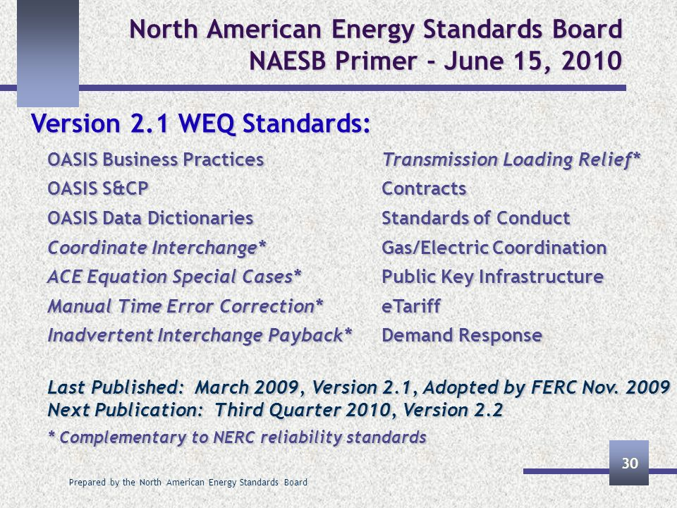 Prepared by the North American Energy Standards Board 30 North American Energy Standards Board NAESB Primer - June 15, 2010 Version 2.1 WEQ Standards: