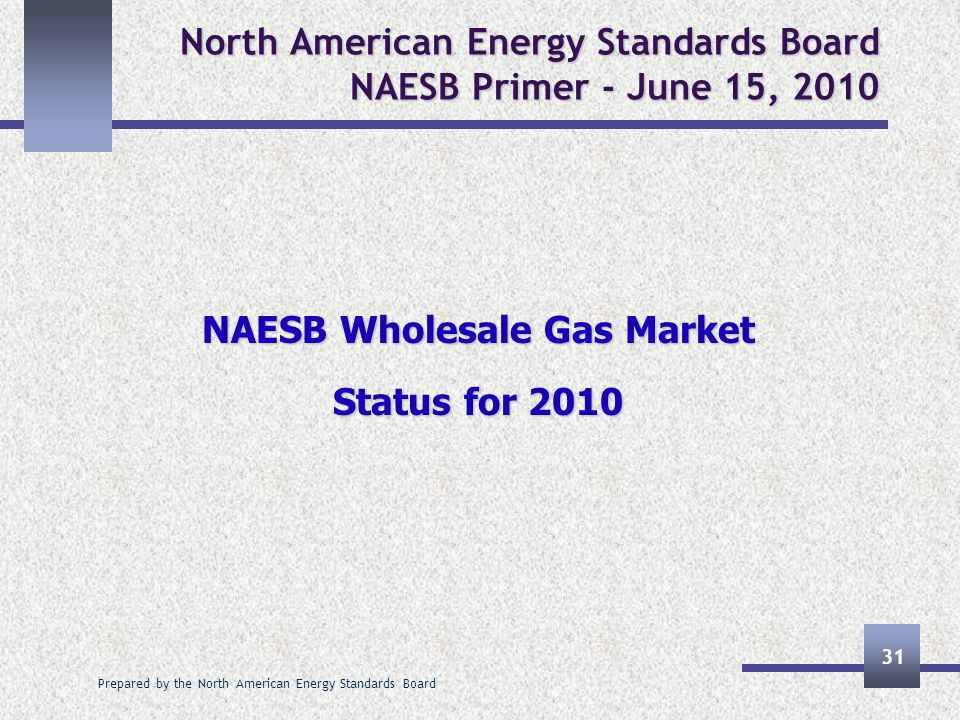 Prepared by the North American Energy Standards Board 31 North American Energy Standards Board NAESB Primer - June 15, 2010 NAESB Wholesale Gas Market