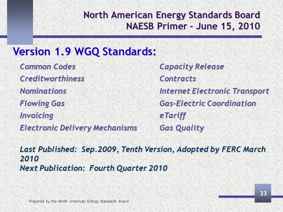 Prepared by the North American Energy Standards Board 33 North American Energy Standards Board NAESB Primer - June 15, 2010 Version 1.9 WGQ Standards: