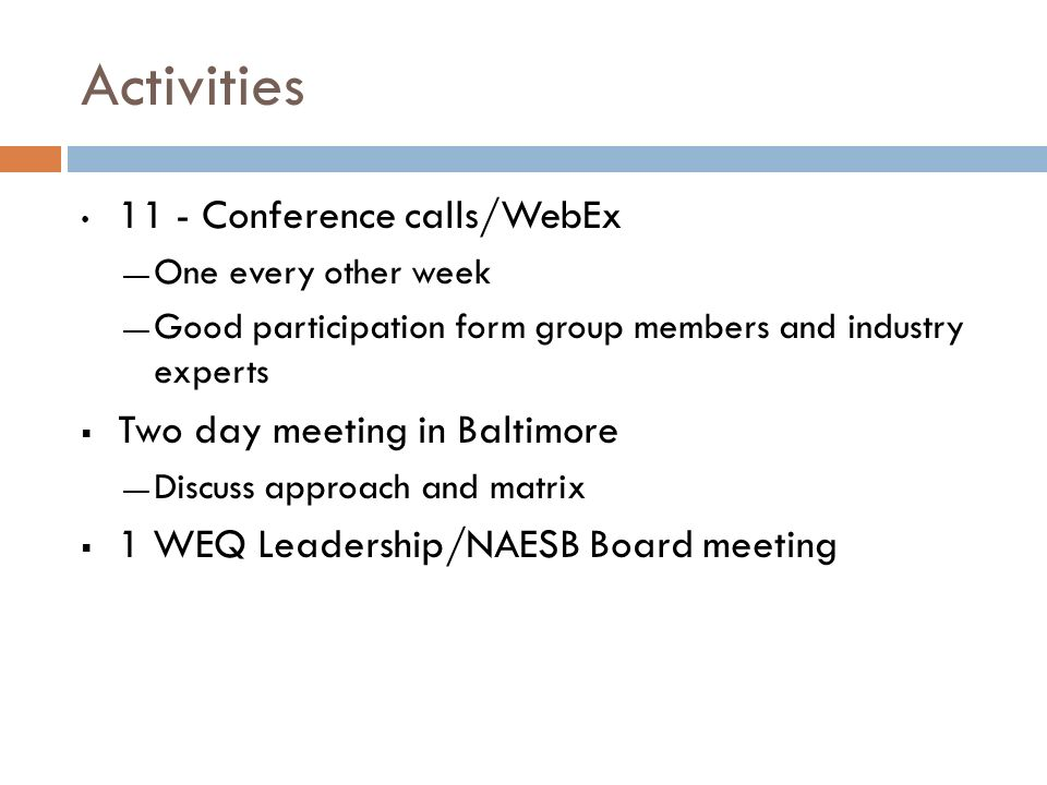 Activities 11 - Conference calls/WebEx One every other week Good participation form group members and industry experts Two day meeting in Baltimore Di