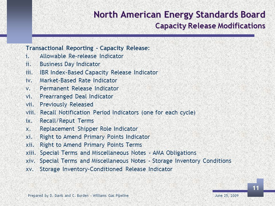 June 25, 2009 Prepared by D. Davis and C. Burden – Williams Gas Pipeline 11 North American Energy Standards Board Capacity Release Modifications Trans