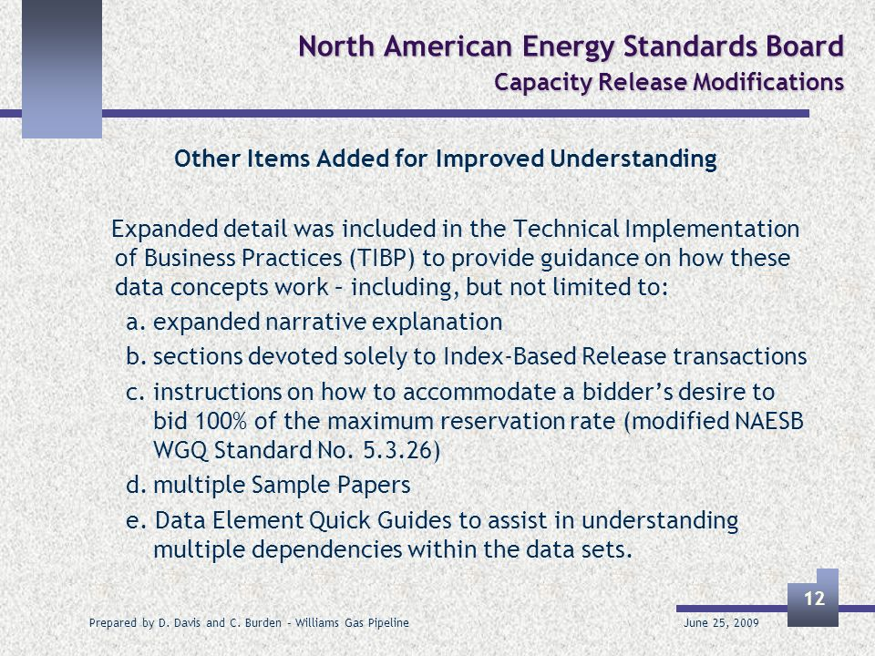 June 25, 2009 Prepared by D. Davis and C. Burden – Williams Gas Pipeline 12 North American Energy Standards Board Capacity Release Modifications Other