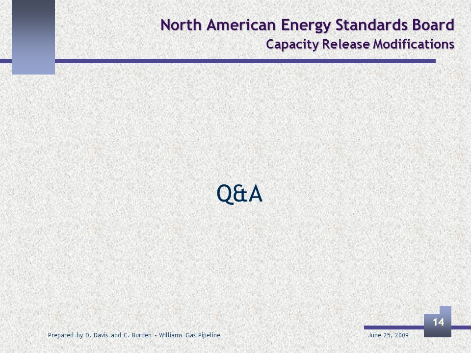 June 25, 2009 Prepared by D. Davis and C. Burden – Williams Gas Pipeline 14 North American Energy Standards Board Capacity Release Modifications Q&A
