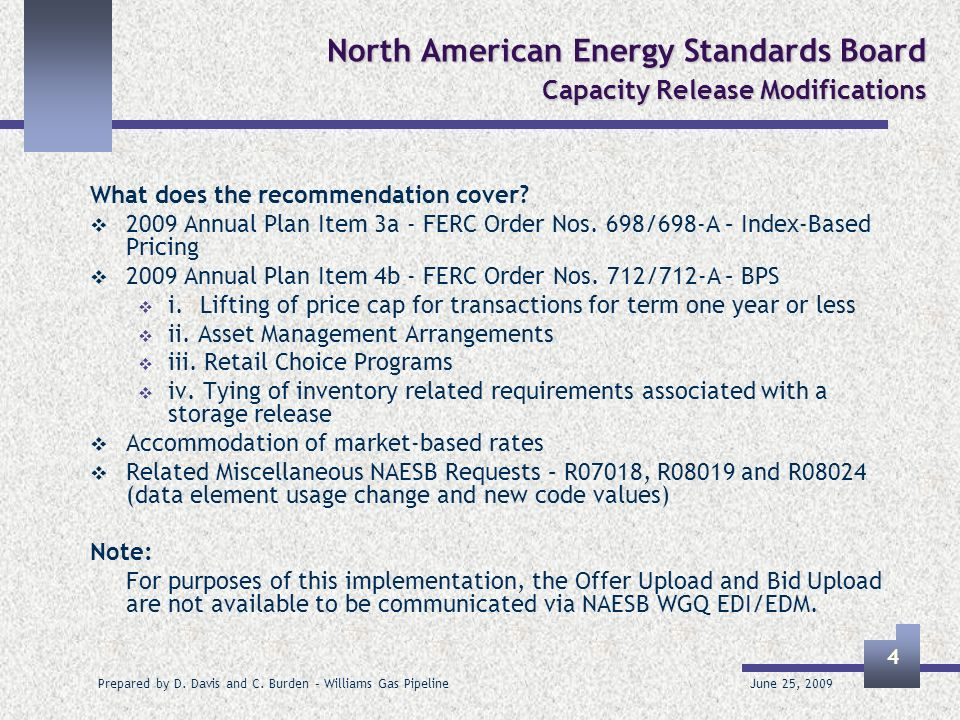 June 25, 2009 Prepared by D. Davis and C. Burden – Williams Gas Pipeline 4 North American Energy Standards Board Capacity Release Modifications What d