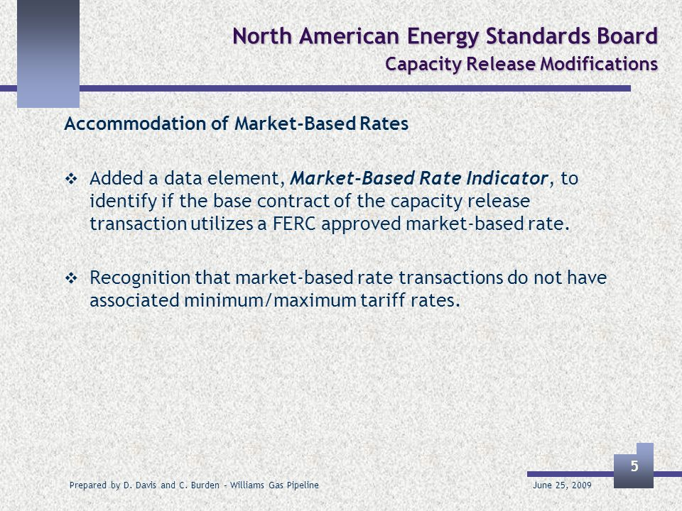 June 25, 2009 Prepared by D. Davis and C. Burden – Williams Gas Pipeline 5 North American Energy Standards Board Capacity Release Modifications Accomm
