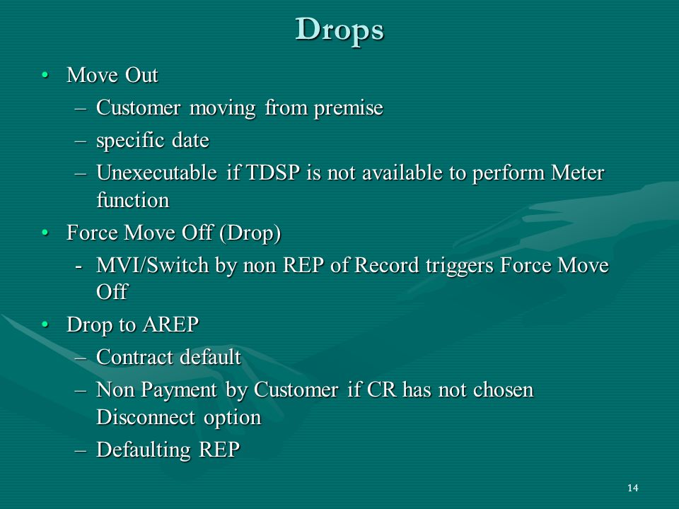 14 Drops Move OutMove Out –Customer moving from premise –specific date –Unexecutable if TDSP is not available to perform Meter function Force Move Off (Drop)Force Move Off (Drop) -MVI/Switch by non REP of Record triggers Force Move Off Drop to AREPDrop to AREP –Contract default –Non Payment by Customer if CR has not chosen Disconnect option –Defaulting REP