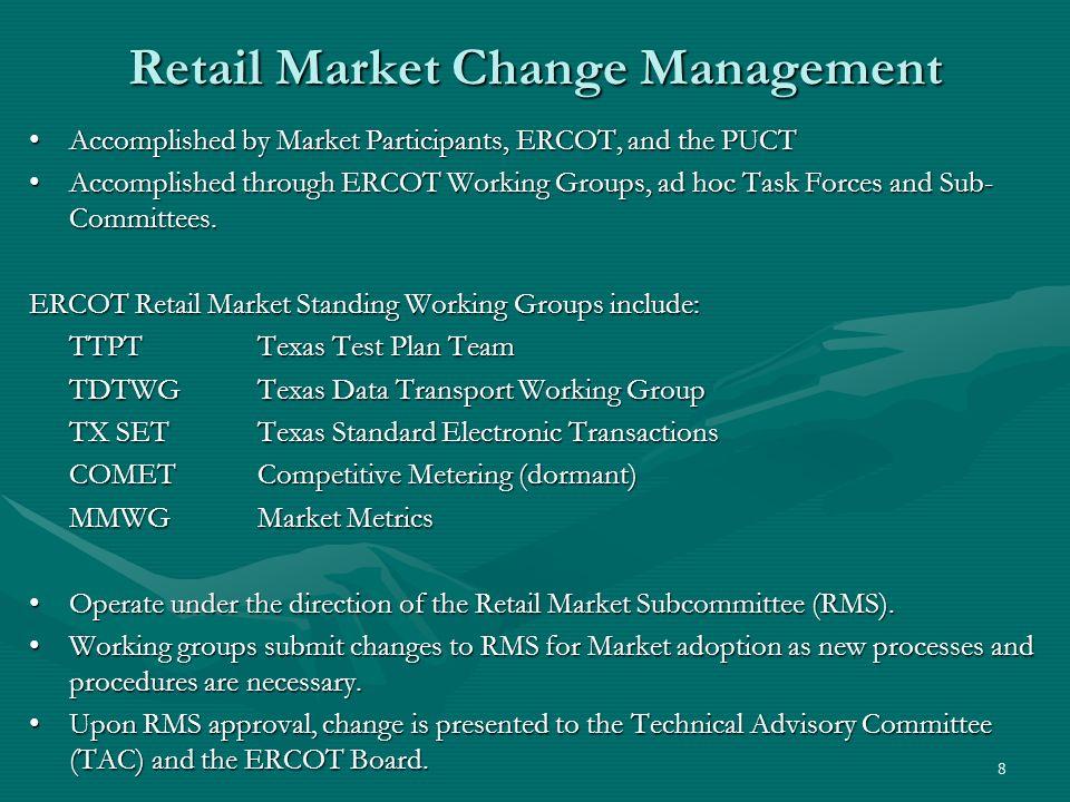 9 Retail Market Organization ERCOT Board of Directors TAC PRSRMS TTPT Working Group TX SET Working Group Market Metrics Working Group COMET Working Group TDTWG Working Group PUCT