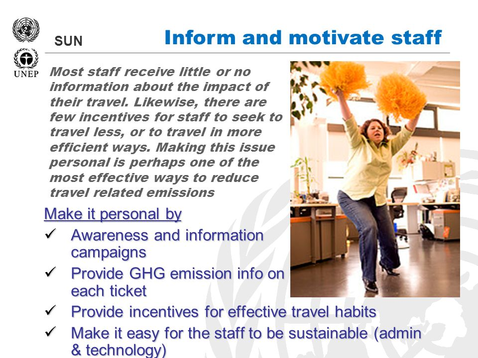 SUN Inform and motivate staff Make it personal by Awareness and information campaigns Awareness and information campaigns Provide GHG emission info on