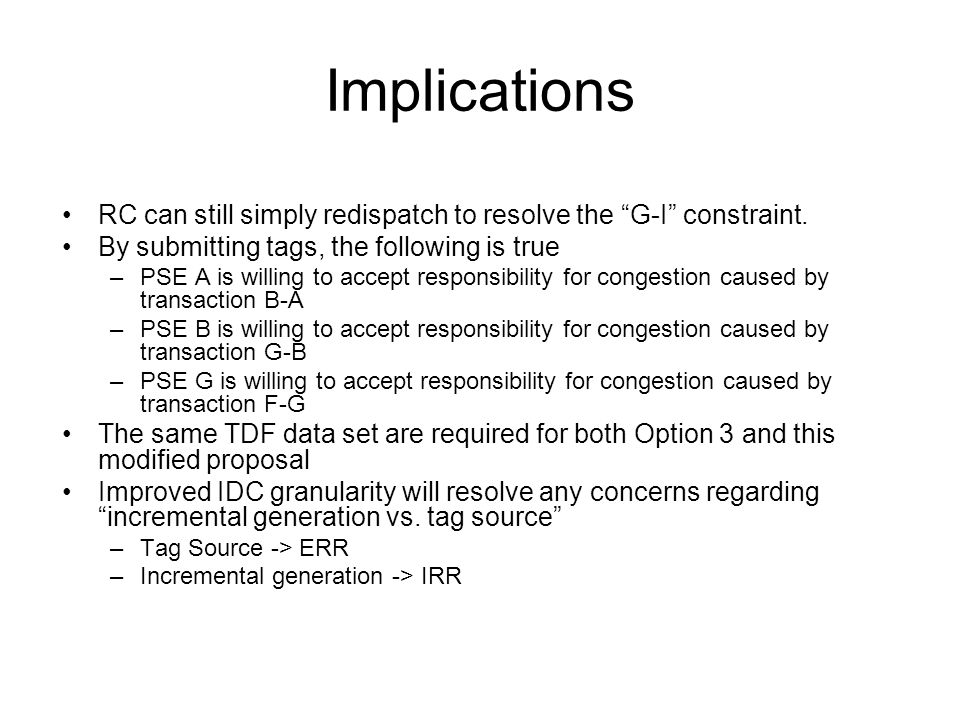 Implications RC can still simply redispatch to resolve the G-I constraint. By submitting tags, the following is true –PSE A is willing to accept respo
