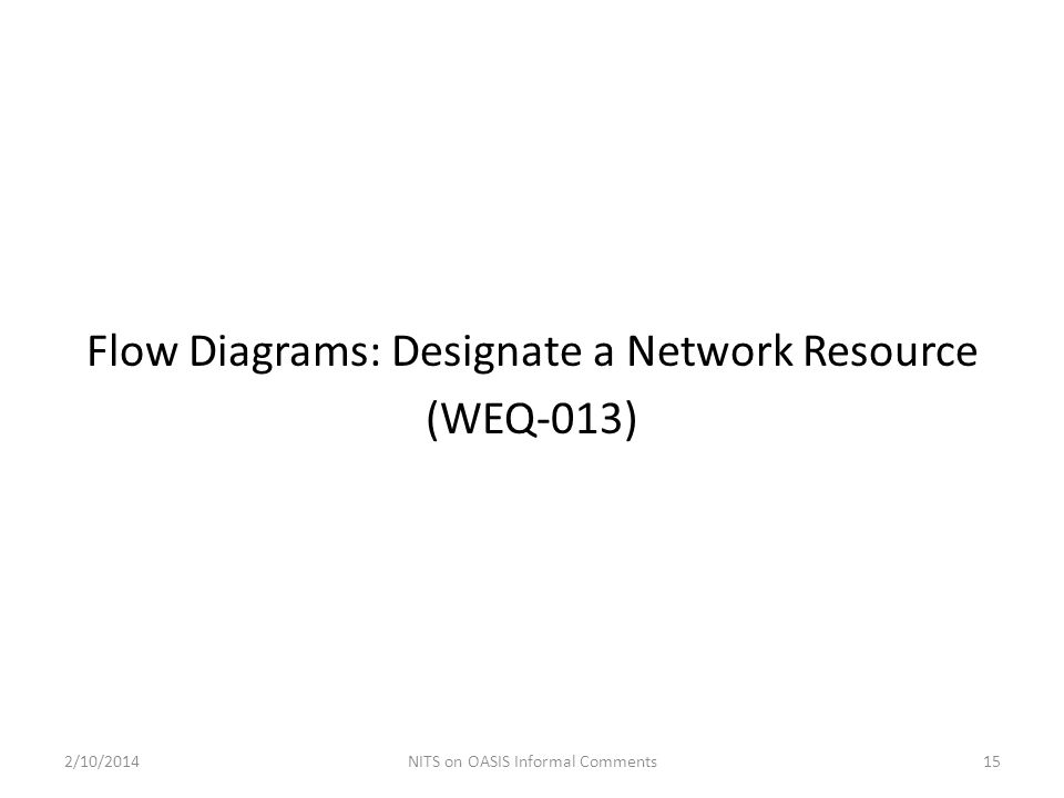 Flow Diagrams: Designate a Network Resource (WEQ-013) 2/10/201415NITS on OASIS Informal Comments