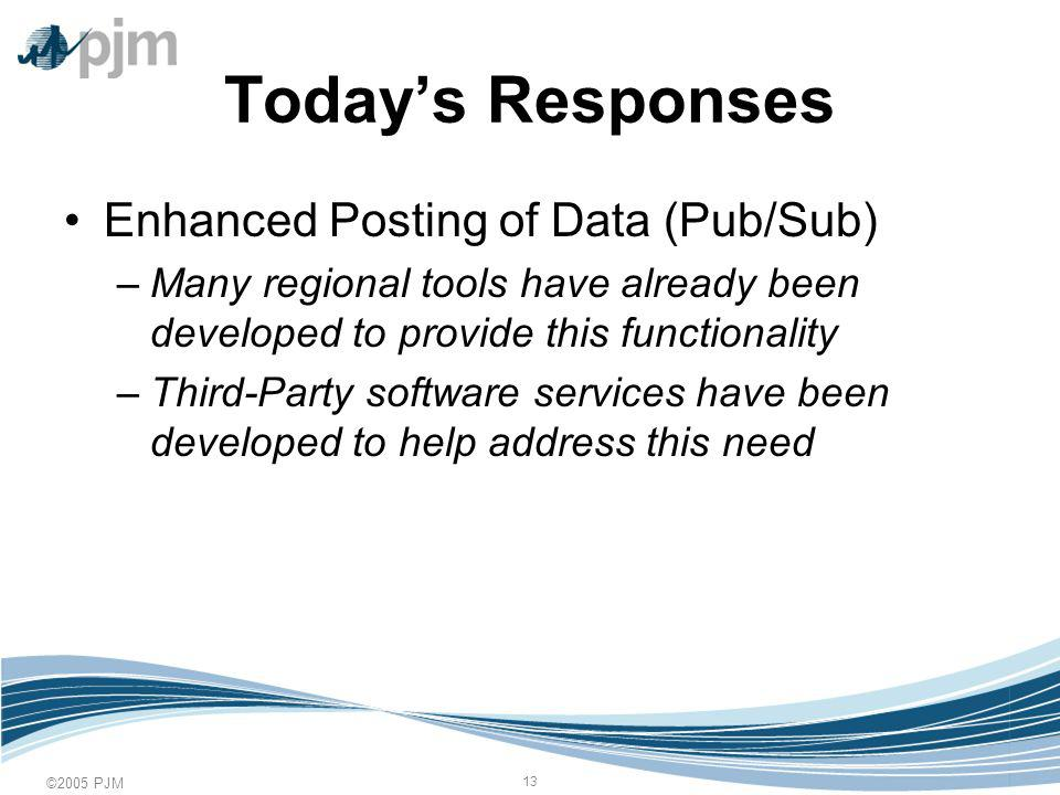 ©2005 PJM 13 Todays Responses Enhanced Posting of Data (Pub/Sub) –Many regional tools have already been developed to provide this functionality –Third-Party software services have been developed to help address this need